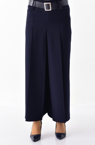 Belted bell-bottomed Pants   31243-02 Navy Blue 31243-02