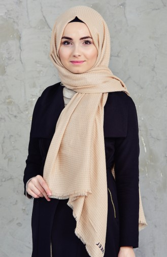 Plain Square Shawl 001-213-14 Beige 001-213-14