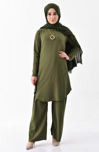 Kolyeli Tunik Pantolon İkili Takım 1187-05 Haki