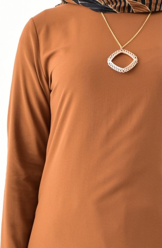 Kolyeli Tunik Pantolon İkili Takım 1187-08 Taba