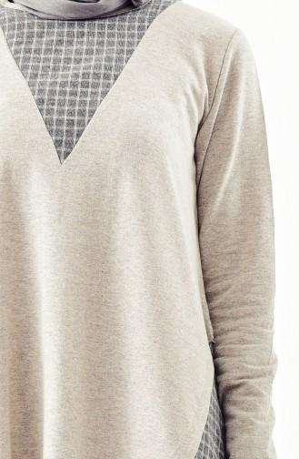 Garni Asymmetrical Tunic 3045-08 Beige Gray 3045-08