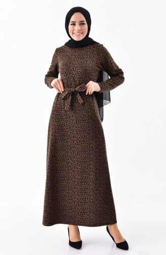 Leopard Patterned Dress 7146-02 Dark Brown 7146-02
