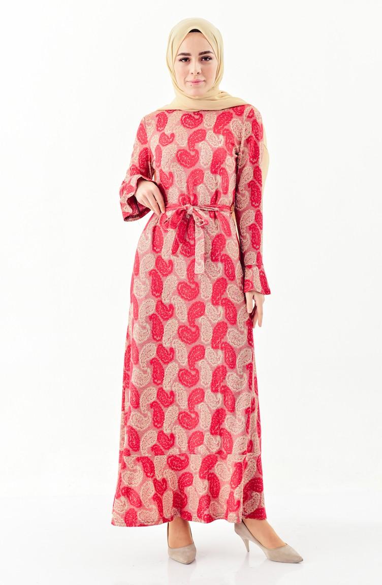 5bdb240fbeafd Şal Desenli Elbise 7152-02 Bordo