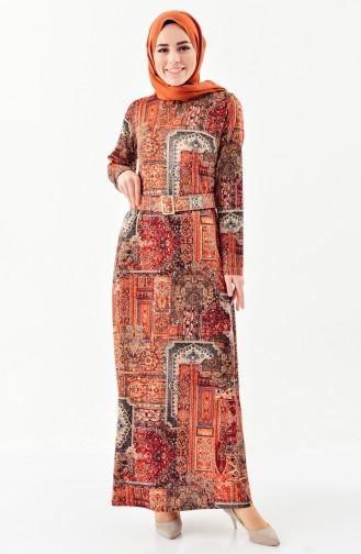 Jacquard Belted Dress 7155-01 Tile Red 7155-01