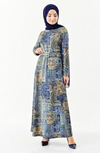 Dilber Jacquard Belted Dress 7155-02 Oil Blue 7155-02