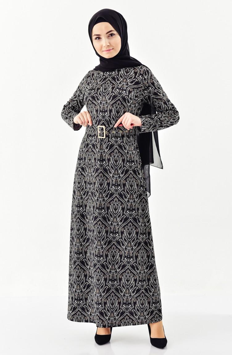 Mit Schwarz 01 Gürtel 7155a Jacquard Kleid CxthrsQd