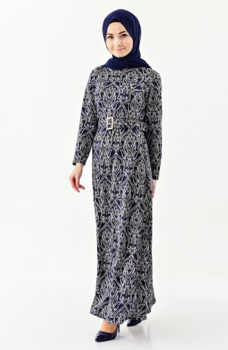 Dilber Jacquard Belted Dress 7155A-02 Navy Blue 7155A-02