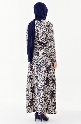 Leaf Patterned Dress 7156-01 Navy Blue 7156-01