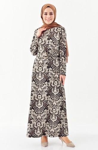 Leaf Printed Patterned Dress 7156-02 Black 7156-02