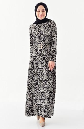 Dilber Patterned belt Dress 7159-01 Black 7159-01