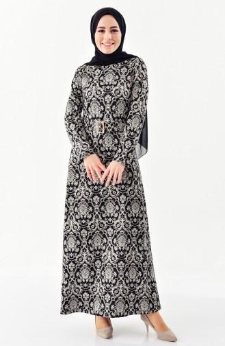 Patterned belt Dress 7159-01 Black 7159-01