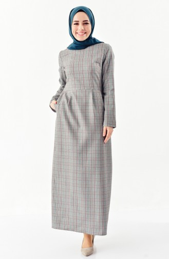 Checked Patterned Pleated Dress 2044-01 Green 2044-01