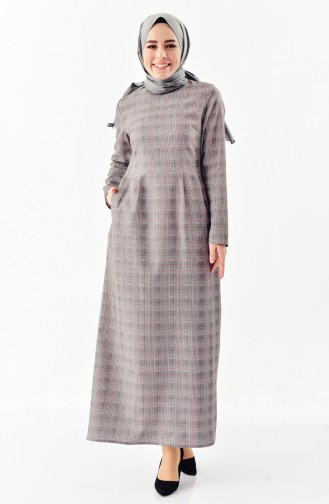 Checked Patterned Pleated Dress 2044A-01 Gray Red 2044A-01