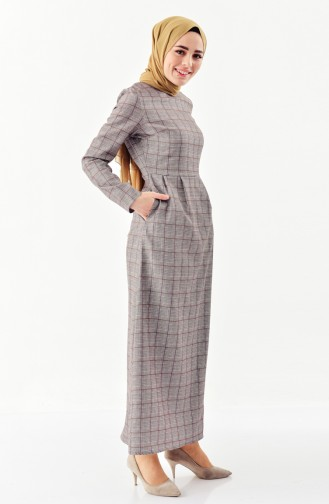 Checked Patterned Pleated Dress 2044B-01 Gray Mustard 2044B-01