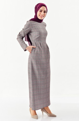 Checked Patterned Pleated Dress  2044C-01 Gray Purple 2044C-01