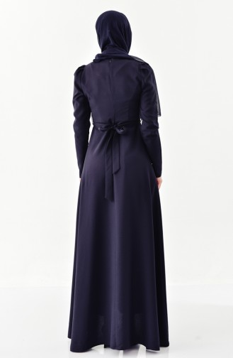 Stone detailed & Belted Dress 0207-09 Navy Blue 0207-09
