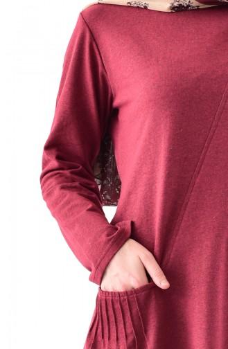 TUBANUR Pocket Detailed Tunic 3055-07 Claret Red 3055-07