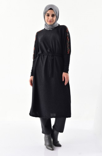 Ethnic Patterned Tricot Tunic 4042-01 Anthracite 4042-01