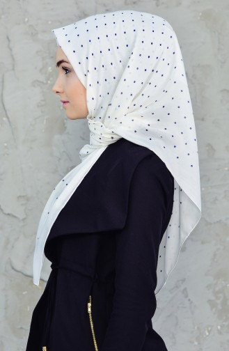Akel Cheesecloth Scarf 001-396A-20 Navy Blue Cream 001-396A-20