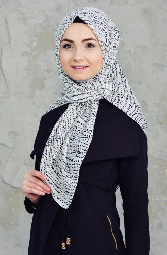 Akel Cheesecloth Scarf 001-396D-15 Cream Gray 001-396D-15