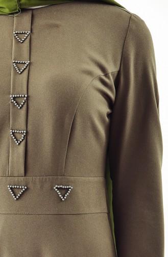 Kleid mit Perlen Detail 0049-01 Khaki 0049-01