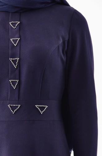 İnci Detaylı Elbise 0049-04 Lacivert 0049-04