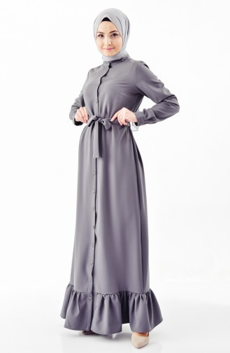 Buttoned Belted Dress 4433A-01 Smoked 4433A-01