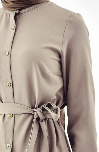 Buttoned Belted Dress 4433A-02 Khaki 4433A-02