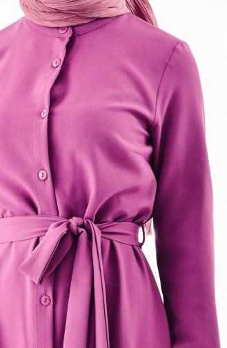Buttoned Belted Dress 4433A-04 Light Purple 4433A-04