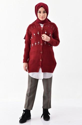 Knitwear Pearl Cardigan 8015-05 Claret Red 8015-05