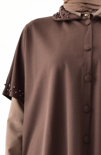 Poncho a Boutons et Perles 1001-04 Brun 1001-04