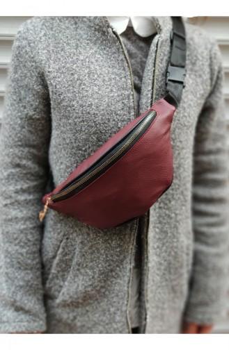 Women Waist Bag U0001-11 Claret Red 0001-11