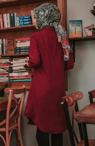 Pocketed Button Tunic 8202-04 Claret Red 8202-04