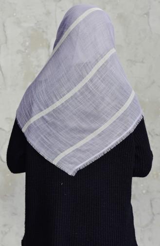 Çizgili Flamlı Cotton Eşarp 2159-02 Gri