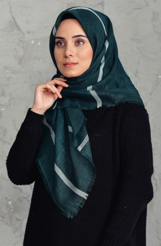 Striped Flamed Cotton Scarf 2159-03 Emerald Green 2159-03