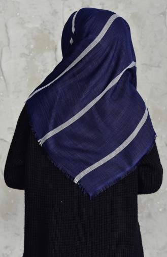 Striped Flamed Cotton Scarf 2159-04 Navy Blue 2159-04