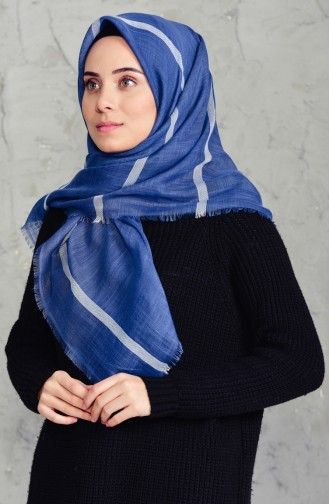 Striped Flamed Cotton Scarf 2159-08 Indigo 2159-08