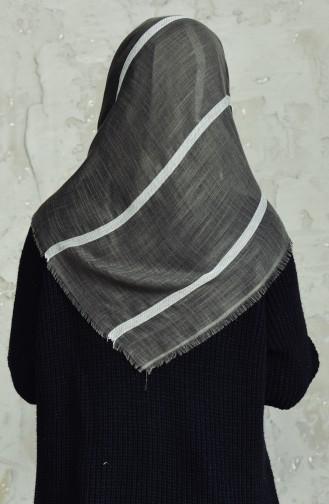 Çizgili Flamlı Cotton Eşarp 2159-09 Haki