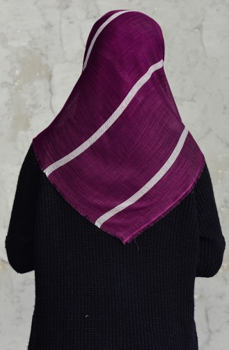 Striped Cotton Scarf 2159-12 Damson 2159-12
