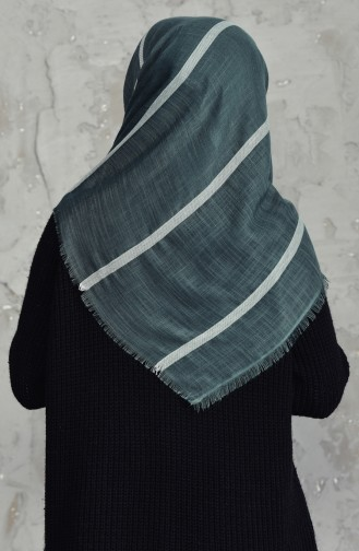 Striped Flamed Cotton Scarf 2159-13 Green 2159-13