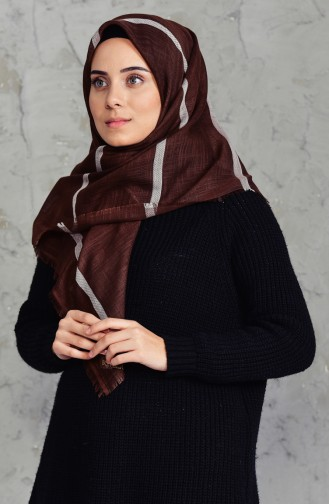 Striped Flamed Cotton Scarf 2159-16 Brown 2159-16