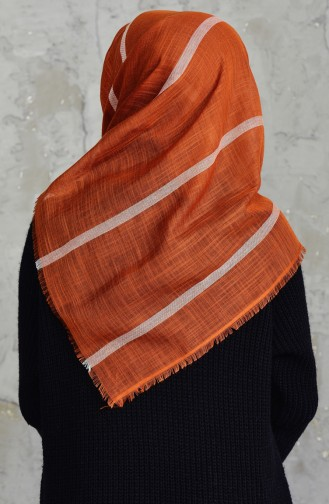 Striped Cotton Scarf 2159-18 Tile Red 2159-18
