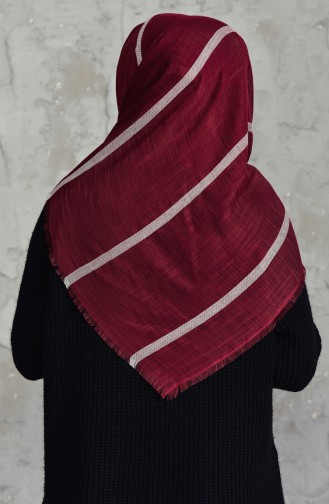 Striped Cotton Scarf 2159-19 Claret Red 2159-19