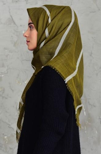 Striped Cotton Scarf 2159-20 Light Khaki Green 2159-20