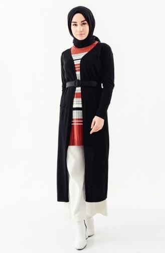 Pocket Long Cardigan 1233-01 Black 1233-01
