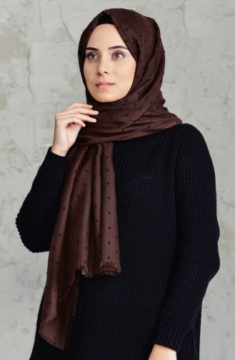 Pomponed Shawl 19042-25 Light Coffee 19042-25