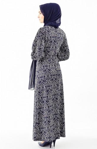 دلبر فستان بتصميم أكمام منفوخة وحزام للخصر 7162-01 لون كحلي 7162-01