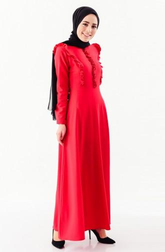 Fırfırlı Elbise 4044-01 Kırmızı