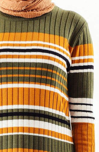Knitwear Striped Tunic 2130-03 Khaki 2130-03