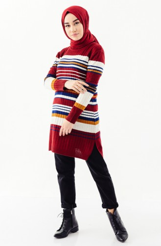 Knitwear Striped Tunic 2130-05 Claret Red 2130-05